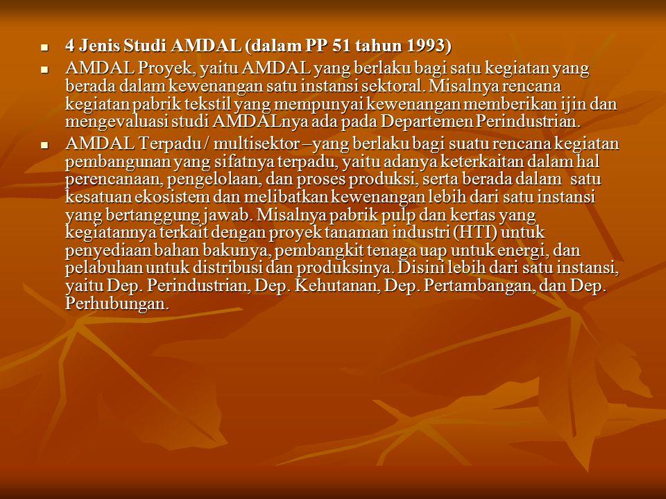 4 Jenis Studi AMDAL (dalam PP 51 tahun 1993) 4 Jenis Studi AMDAL (dalam PP 51 tahun 1993) AMDAL Proyek, yaitu AMDAL yang berlaku bagi satu kegiatan ya