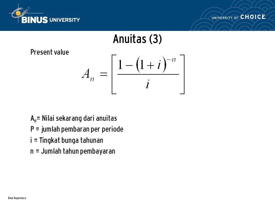 Bina Nusantara Anuitas (3) Present value A n = Nilai sekarang dari anuitas P = jumlah pembaran per periode i = Tingkat bunga tahunan n = Jumlah tahun