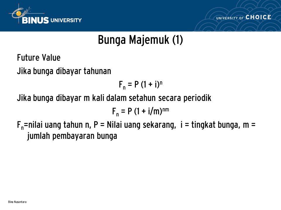 Bina Nusantara Bunga Majemuk (1) Future Value Jika bunga dibayar tahunan F n = P (1 + i) n Jika bunga dibayar m kali dalam setahun secara periodik F n = P (1 + i/m) nm F n =nilai uang tahun n, P = Nilai uang sekarang, i = tingkat bunga, m = jumlah pembayaran bunga