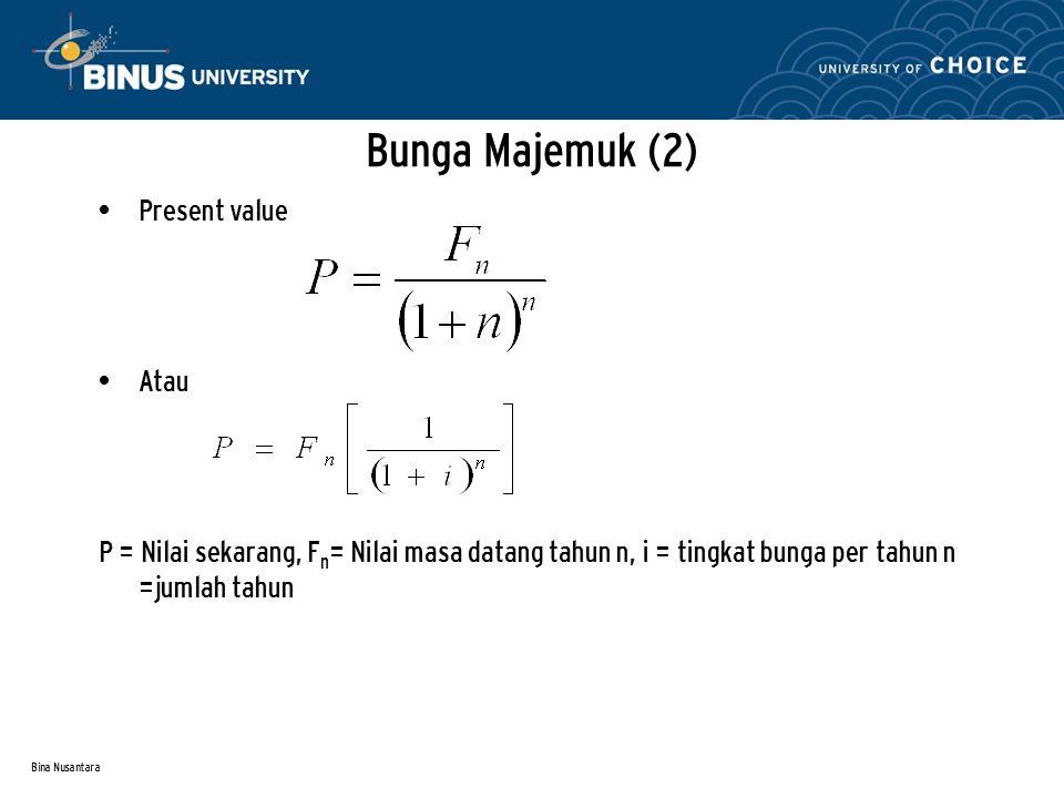Bina Nusantara Bunga Majemuk (2) Present value Atau P = Nilai sekarang, F n = Nilai masa datang tahun n, i = tingkat bunga per tahun n =jumlah tahun