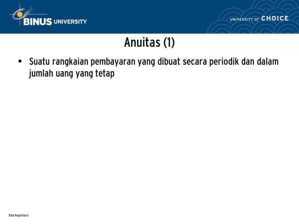 Bina Nusantara Anuitas (1) Suatu rangkaian pembayaran yang dibuat secara periodik dan dalam jumlah uang yang tetap