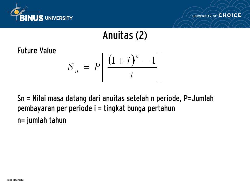 Bina Nusantara Anuitas (2) Future Value Sn = Nilai masa datang dari anuitas setelah n periode, P=Jumlah pembayaran per periode i = tingkat bunga perta