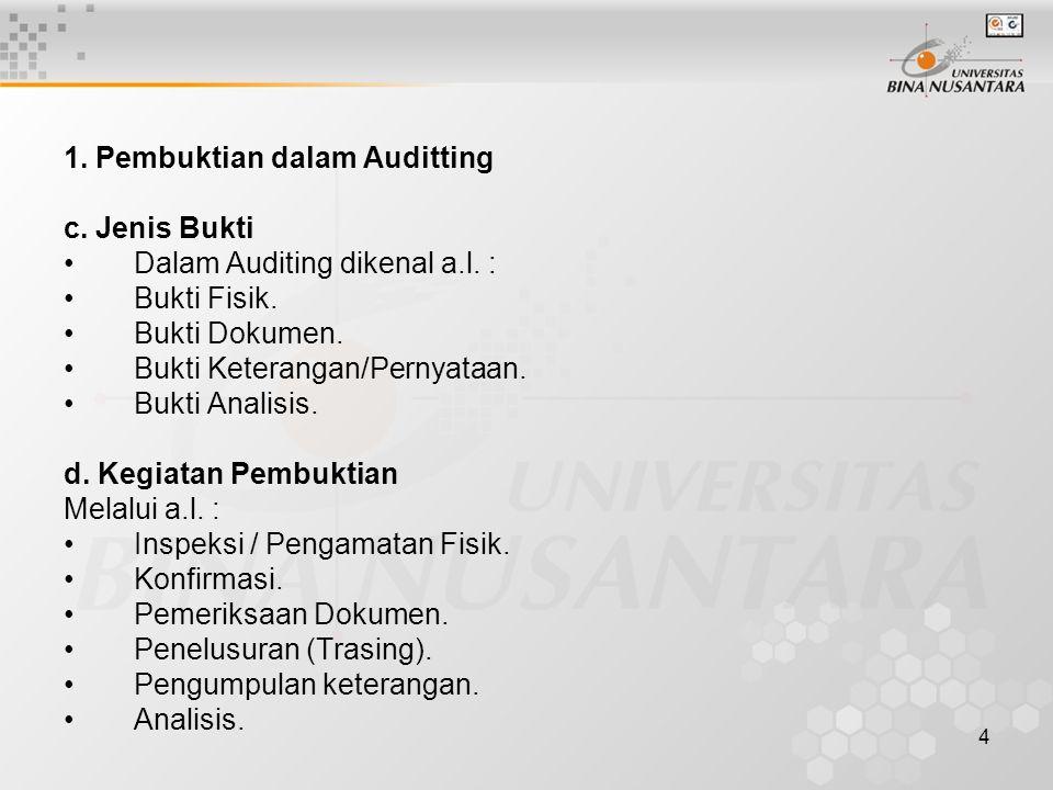 4 1. Pembuktian dalam Auditting c. Jenis Bukti Dalam Auditing dikenal a.l.