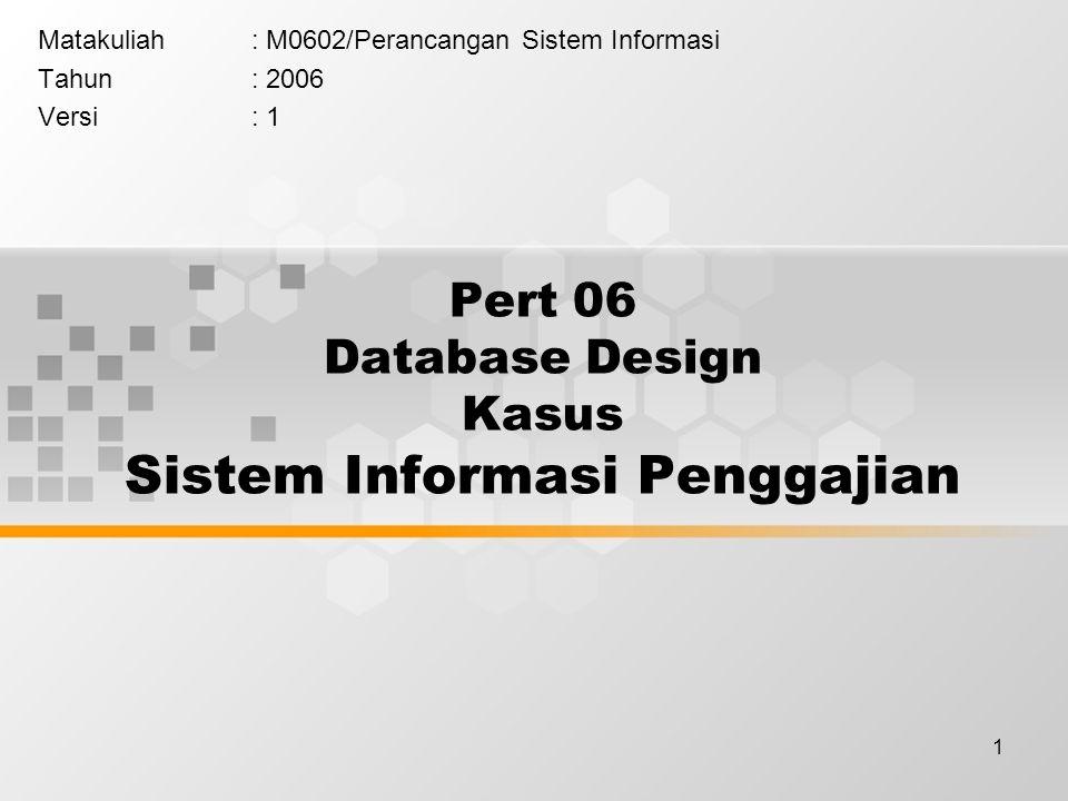 1 Pert 06 Database Design Kasus Sistem Informasi Penggajian Matakuliah: M0602/Perancangan Sistem Informasi Tahun: 2006 Versi: 1