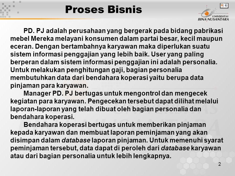 2 Proses Bisnis PD. PJ adalah perusahaan yang bergerak pada bidang pabrikasi mebel Mereka melayani konsumen dalam partai besar, kecil maupun eceran. D