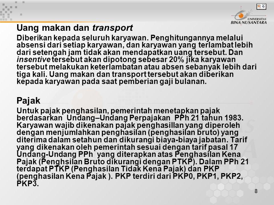 8 Uang makan dan transport Diberikan kepada seluruh karyawan.