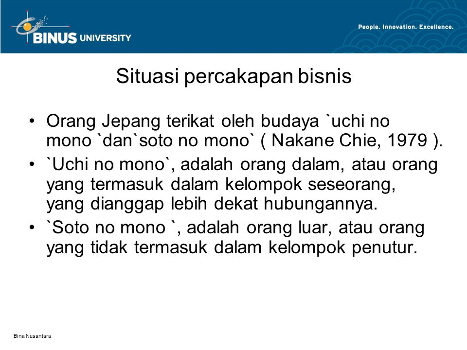 Bina Nusantara Unsur dan fungsi komunikasi Jacobson (1960) コンテクスト (関説的) <言葉表現> 送り手 受け手 (情動的) (動能的) 接触 (交話的) <言葉体系> (メタ言語的)
