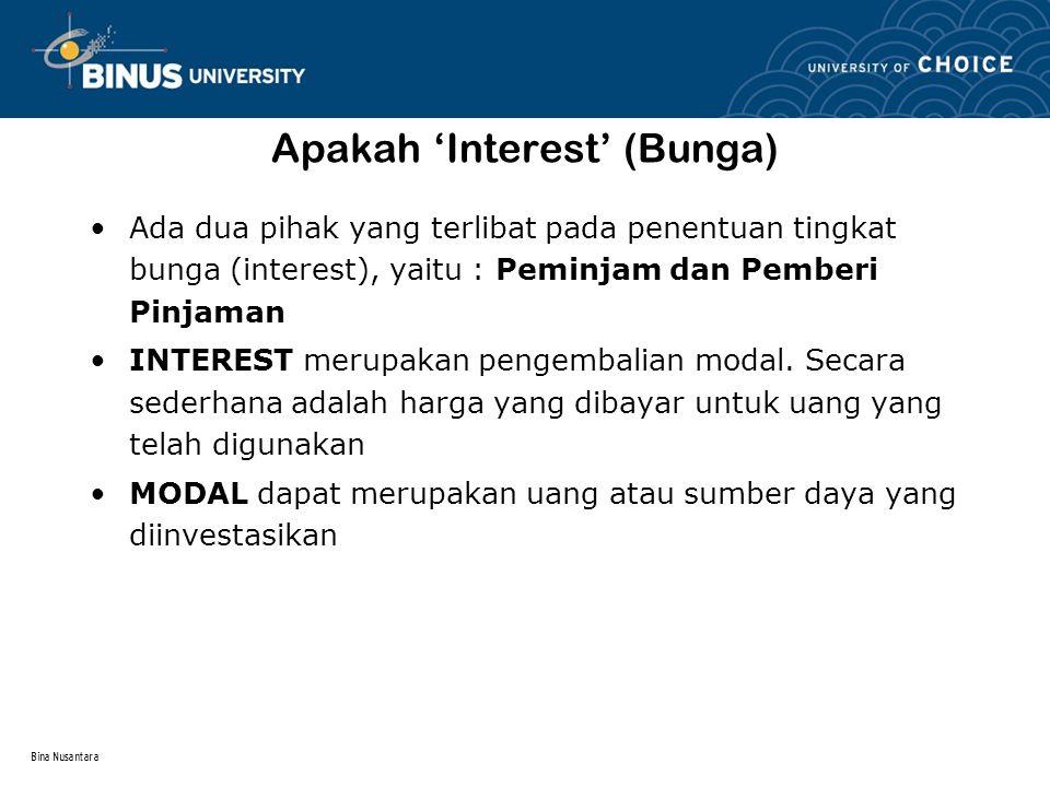 Bina Nusantara Suku Bunga atau Interest Rate Interest Rate adalah prosentase, yang biasanya diperlihatkan dalam tahunan yang harus dibayarkan oleh peminjam - Interest rates beragam tergantung pada waktu dan tipe investasi yang berbeda.