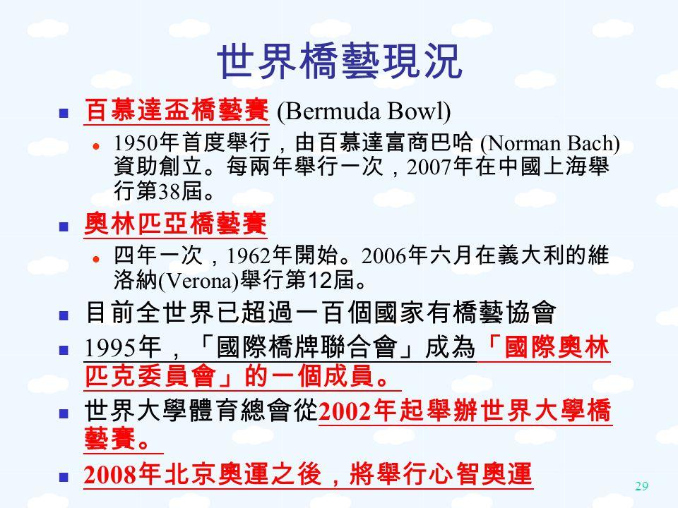 29 世界橋藝現況 百慕達盃橋藝賽 (Bermuda Bowl) 1950 年首度舉行,由百慕達富商巴哈 (Norman Bach) 資助創立。每兩年舉行一次, 2007 年在中國上海舉 行第 38 屆。 奧林匹亞橋藝賽 四年一次, 1962 年開始。 2006 年六月在義大利的維 洛納 (Vero