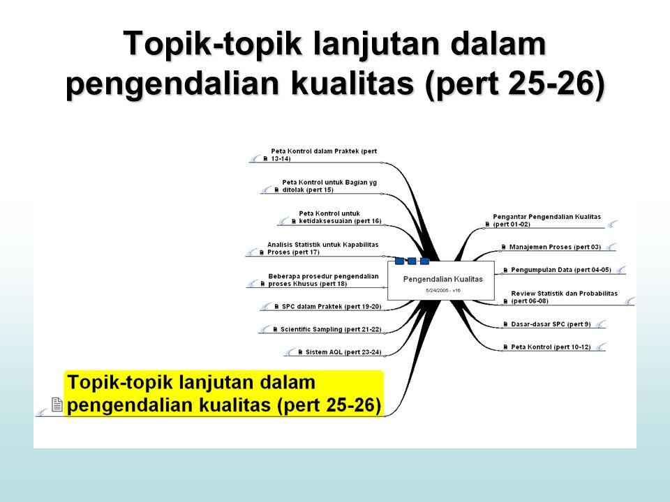 Topik-topik lanjutan dalam pengendalian kualitas (pert 25-26)