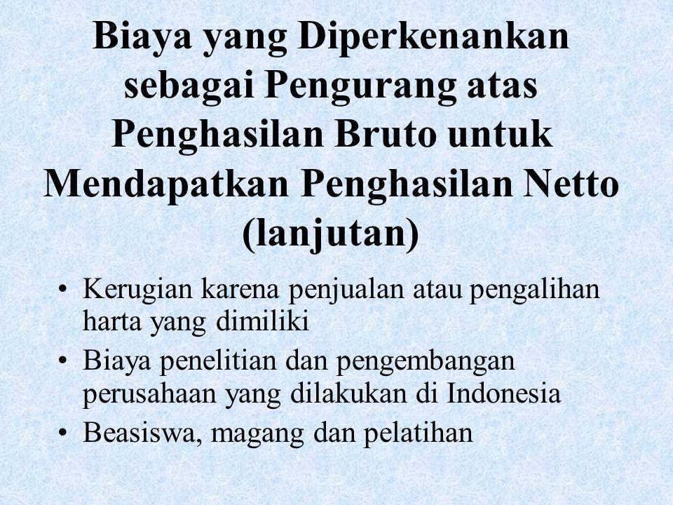 Biaya yang Diperkenankan sebagai Pengurang atas Penghasilan Bruto untuk Mendapatkan Penghasilan Netto (lanjutan) Kerugian karena penjualan atau pengalihan harta yang dimiliki Biaya penelitian dan pengembangan perusahaan yang dilakukan di Indonesia Beasiswa, magang dan pelatihan