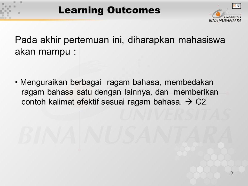 2 Learning Outcomes Pada akhir pertemuan ini, diharapkan mahasiswa akan mampu : Menguraikan berbagai ragam bahasa, membedakan ragam bahasa satu dengan