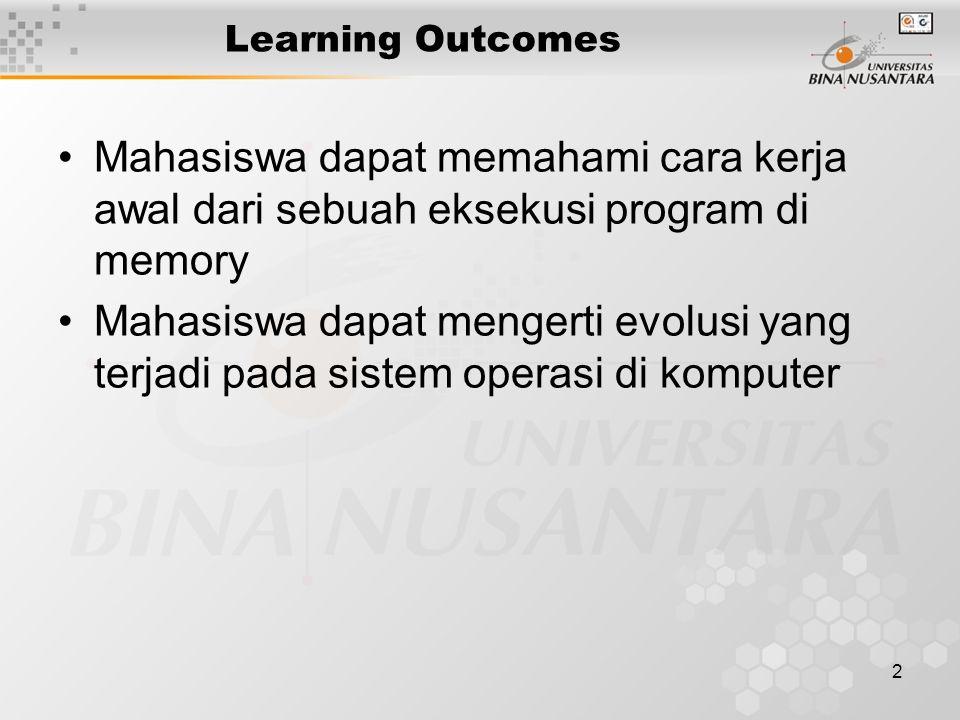 2 Learning Outcomes Mahasiswa dapat memahami cara kerja awal dari sebuah eksekusi program di memory Mahasiswa dapat mengerti evolusi yang terjadi pada sistem operasi di komputer