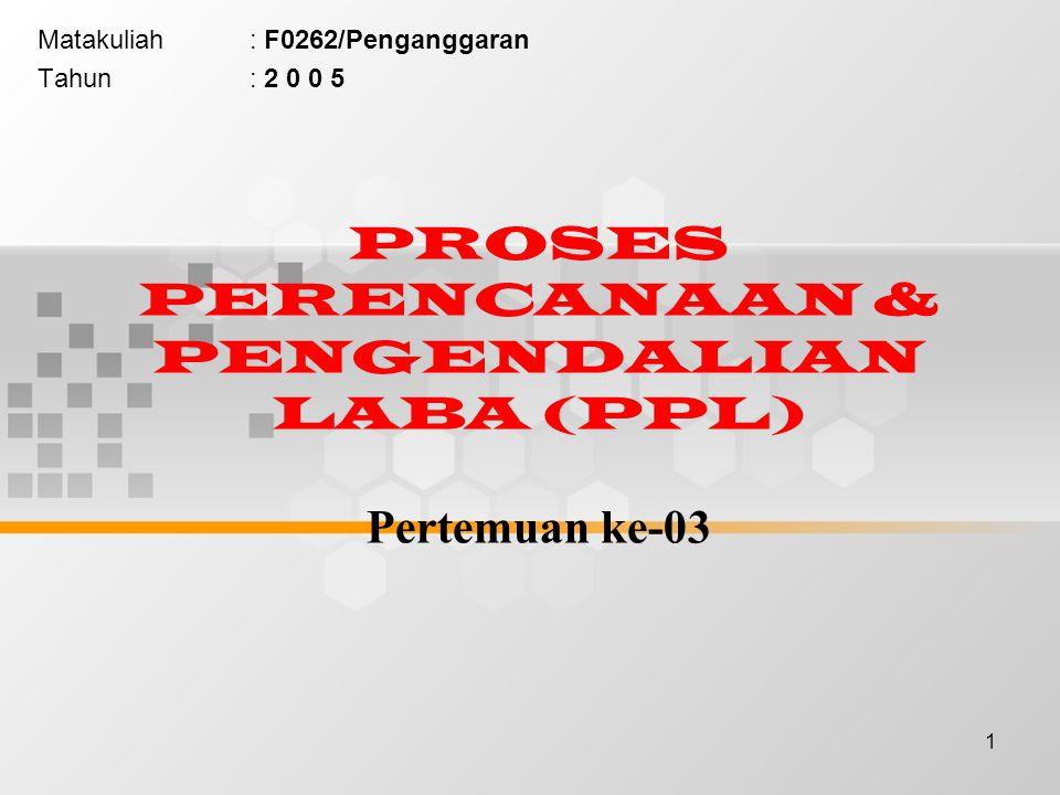 1 PROSES PERENCANAAN & PENGENDALIAN LABA (PPL) Pertemuan ke-03 Matakuliah: F0262/Penganggaran Tahun: 2 0 0 5