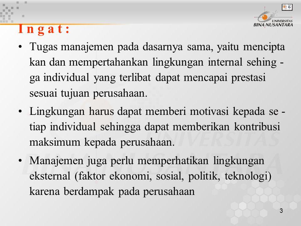 3 I n g a t : Tugas manajemen pada dasarnya sama, yaitu mencipta kan dan mempertahankan lingkungan internal sehing - ga individual yang terlibat dapat