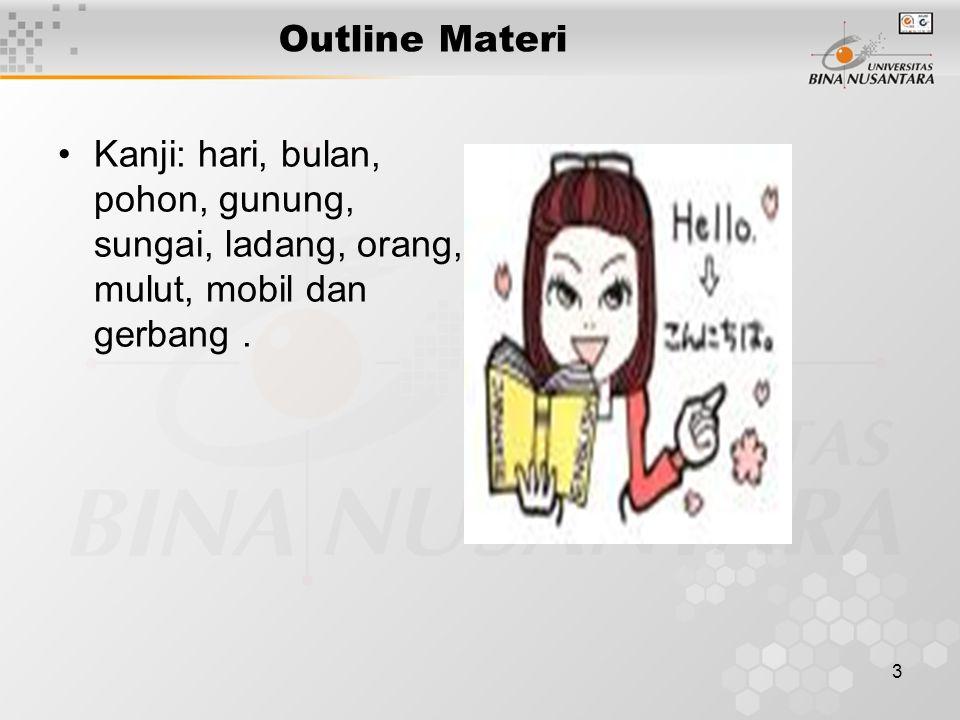 3 Outline Materi Kanji: hari, bulan, pohon, gunung, sungai, ladang, orang, mulut, mobil dan gerbang.