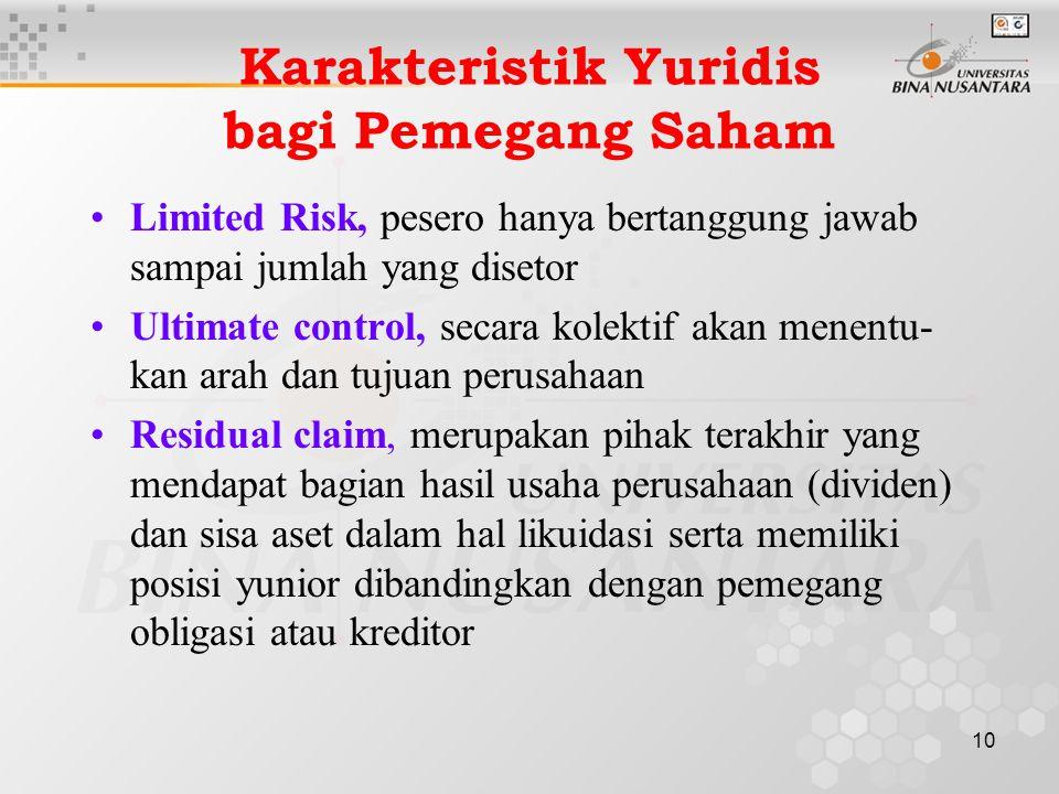 10 Karakteristik Yuridis bagi Pemegang Saham Limited Risk, pesero hanya bertanggung jawab sampai jumlah yang disetor Ultimate control, secara kolektif