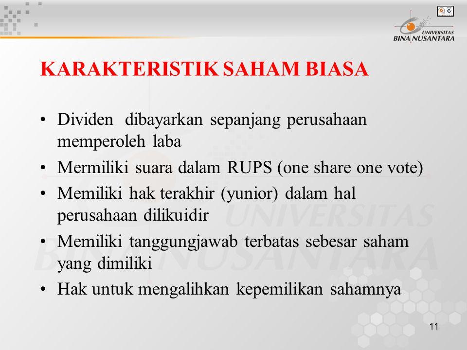 11 KARAKTERISTIK SAHAM BIASA Dividen dibayarkan sepanjang perusahaan memperoleh laba Mermiliki suara dalam RUPS (one share one vote) Memiliki hak tera