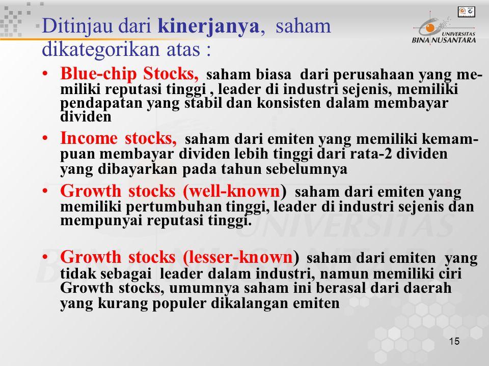 15 Ditinjau dari kinerjanya, saham dikategorikan atas : Blue-chip Stocks, saham biasa dari perusahaan yang me- miliki reputasi tinggi, leader di indus