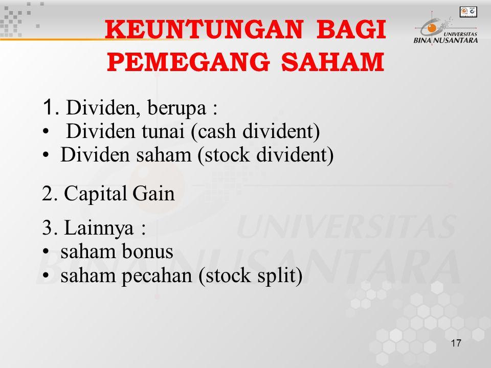17 KEUNTUNGAN BAGI PEMEGANG SAHAM 1. Dividen, berupa : Dividen tunai (cash divident) Dividen saham (stock divident) 2. Capital Gain 3. Lainnya : saham