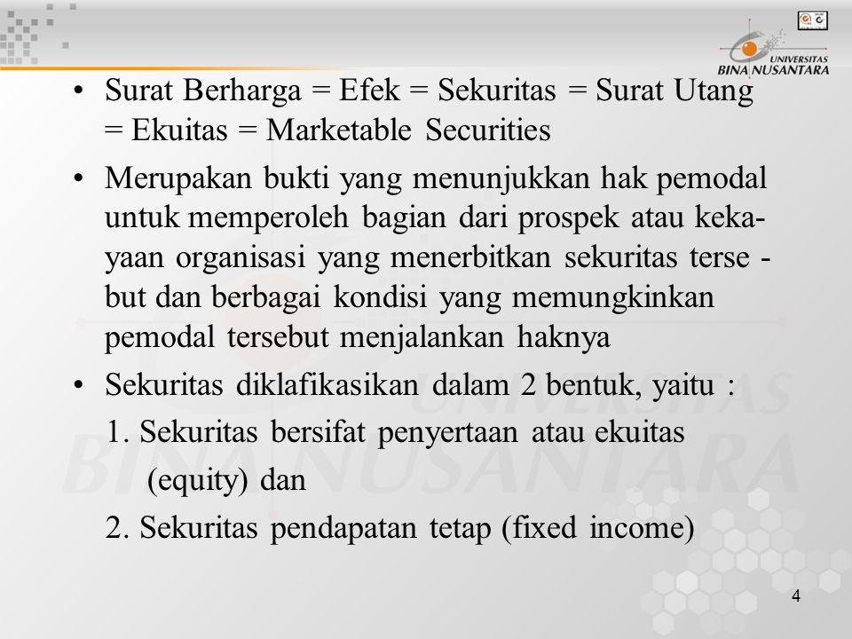 4 Surat Berharga = Efek = Sekuritas = Surat Utang = Ekuitas = Marketable Securities Merupakan bukti yang menunjukkan hak pemodal untuk memperoleh bagian dari prospek atau keka- yaan organisasi yang menerbitkan sekuritas terse - but dan berbagai kondisi yang memungkinkan pemodal tersebut menjalankan haknya Sekuritas diklafikasikan dalam 2 bentuk, yaitu : 1.