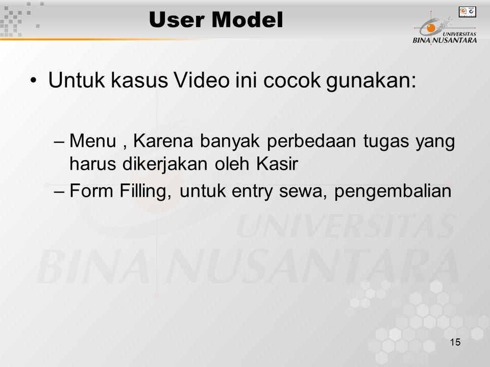 15 User Model Untuk kasus Video ini cocok gunakan: –Menu, Karena banyak perbedaan tugas yang harus dikerjakan oleh Kasir –Form Filling, untuk entry sewa, pengembalian