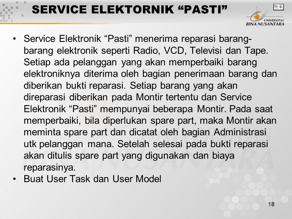 18 SERVICE ELEKTORNIK PASTI Service Elektronik Pasti menerima reparasi barang- barang elektronik seperti Radio, VCD, Televisi dan Tape.