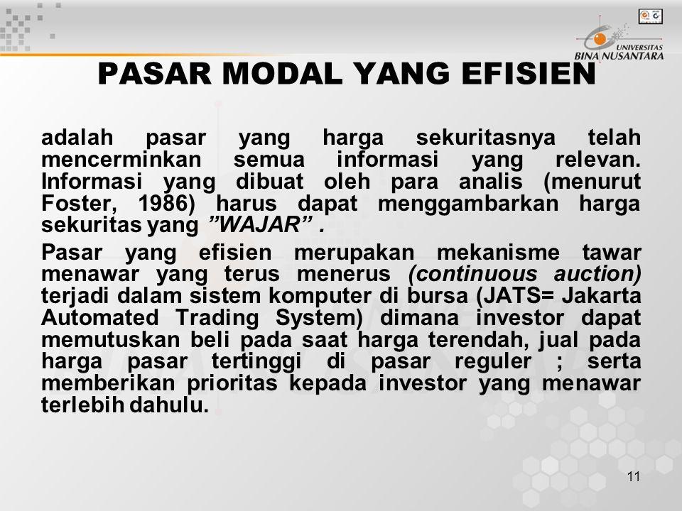 11 PASAR MODAL YANG EFISIEN adalah pasar yang harga sekuritasnya telah mencerminkan semua informasi yang relevan. Informasi yang dibuat oleh para anal