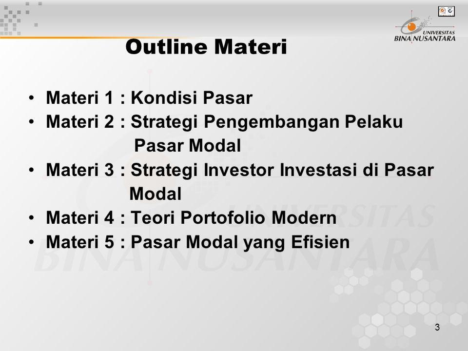 3 Outline Materi Materi 1 : Kondisi Pasar Materi 2 : Strategi Pengembangan Pelaku Pasar Modal Materi 3 : Strategi Investor Investasi di Pasar Modal Ma