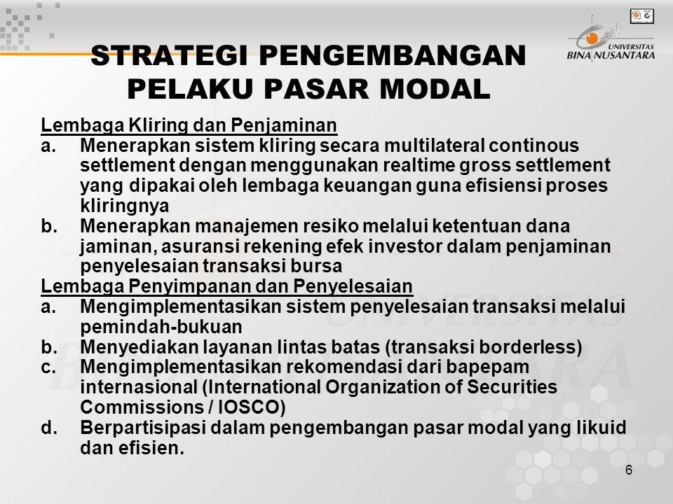 6 STRATEGI PENGEMBANGAN PELAKU PASAR MODAL Lembaga Kliring dan Penjaminan a.Menerapkan sistem kliring secara multilateral continous settlement dengan