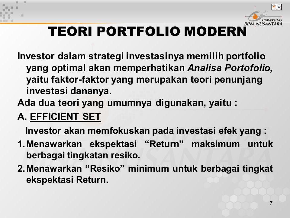 7 TEORI PORTFOLIO MODERN Investor dalam strategi investasinya memilih portfolio yang optimal akan memperhatikan Analisa Portofolio, yaitu faktor-fakto