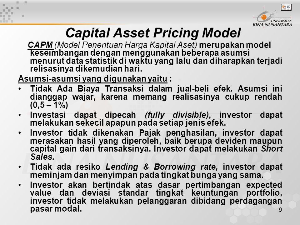 10 Capital Asset Pricing Model Hubungan Resiko dan Keuntungan dalam lingkup CAPM, adalah : Pengukuran resiko dalam CAPM menggunakan Beta sebagai pengukur resiko yang perlu anda ingat yaitu : 1) bukan menggunakan deviasi standar 2) menggunakan teori efficient set.