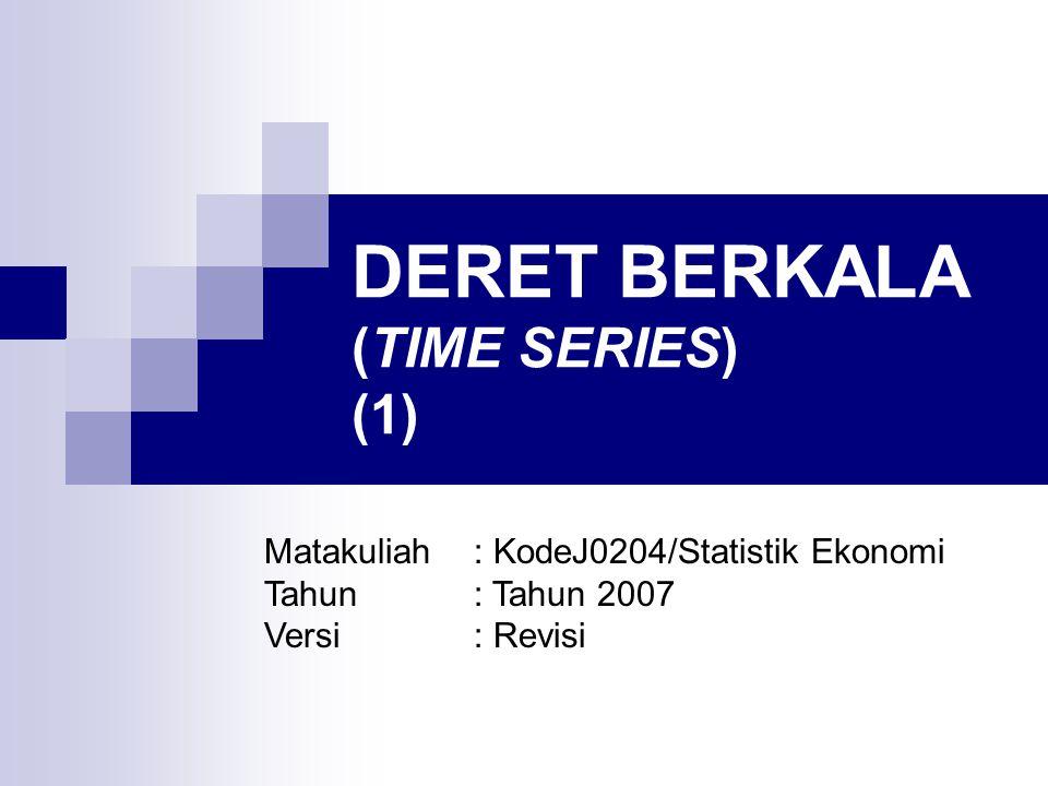 DERET BERKALA (TIME SERIES) Suatu deret berkala merupakan suatu himpunan observasi dimana variabel yang digunakan diukur dalam urutan periode waktu, misalnya tahunan, bulanan, triwulanan, dan sebagainya.