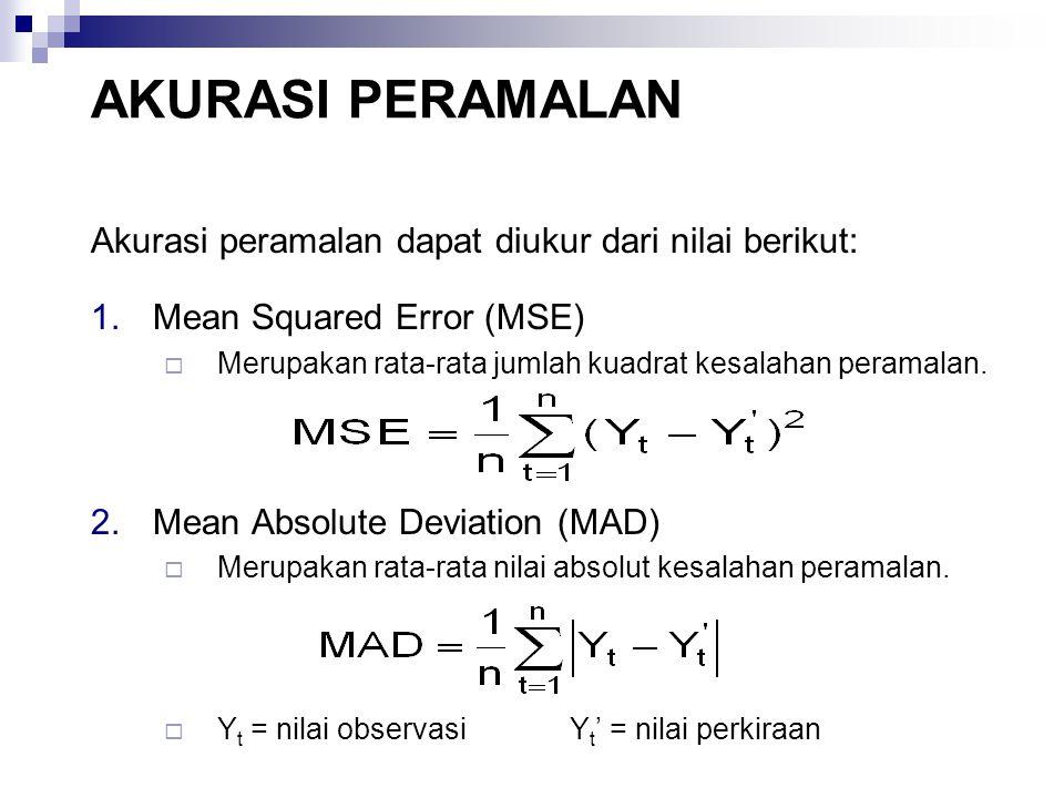 AKURASI PERAMALAN Akurasi peramalan dapat diukur dari nilai berikut: 1.Mean Squared Error (MSE)  Merupakan rata-rata jumlah kuadrat kesalahan peramal