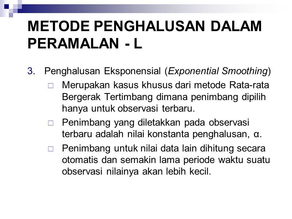 3.Penghalusan Eksponensial (Exponential Smoothing)  Merupakan kasus khusus dari metode Rata-rata Bergerak Tertimbang dimana penimbang dipilih hanya u