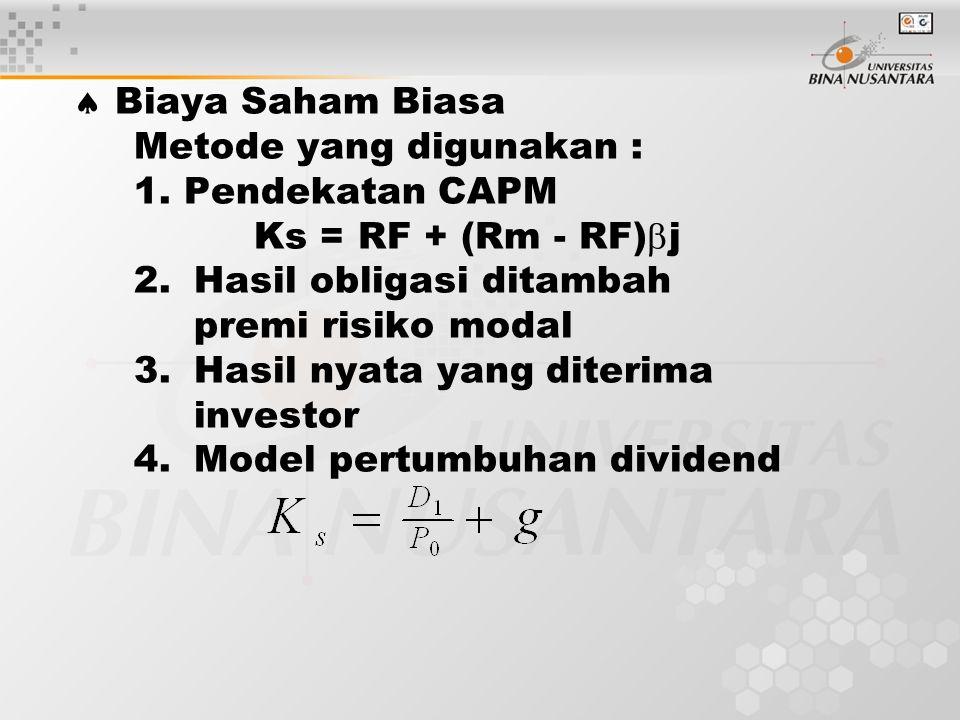  Biaya Saham Biasa Metode yang digunakan : 1.