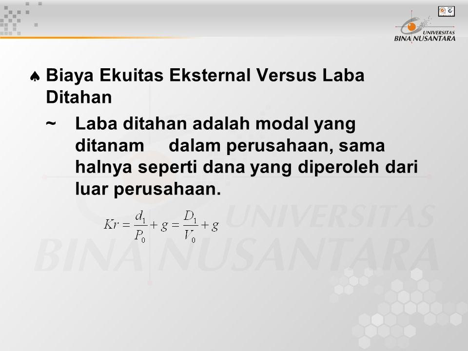  Biaya Ekuitas Eksternal Versus Laba Ditahan ~Laba ditahan adalah modal yang ditanam dalam perusahaan, sama halnya seperti dana yang diperoleh dari luar perusahaan.