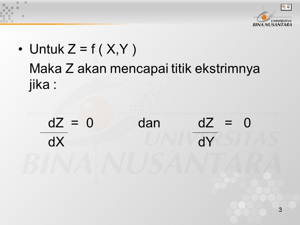3 Untuk Z = f ( X,Y ) Maka Z akan mencapai titik ekstrimnya jika : dZ = 0 dan dZ = 0 dXdY