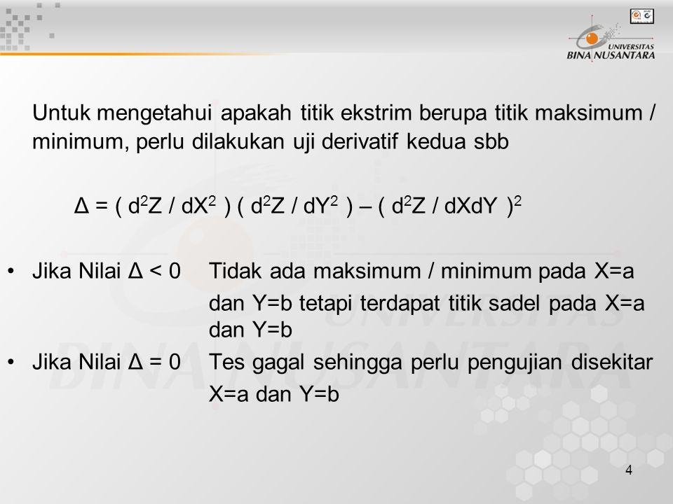 4 Untuk mengetahui apakah titik ekstrim berupa titik maksimum / minimum, perlu dilakukan uji derivatif kedua sbb Δ = ( d 2 Z / dX 2 ) ( d 2 Z / dY 2 )
