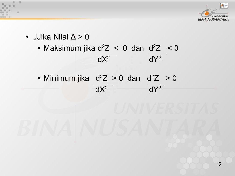 5 JJika Nilai Δ > 0 Maksimum jika d 2 Z < 0 dan d 2 Z < 0 dX 2 dY 2 Minimum jika d 2 Z > 0 dan d 2 Z > 0 dX 2 dY 2