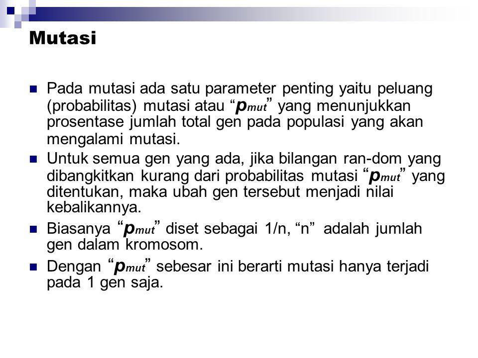 Mutasi Pada mutasi ada satu parameter penting yaitu peluang (probabilitas) mutasi atau p mut yang menunjukkan prosentase jumlah total gen pada populasi yang akan mengalami mutasi.
