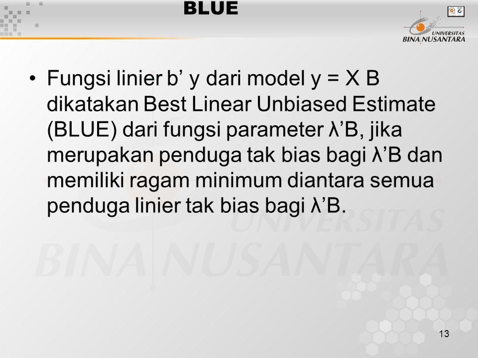 13 BLUE Fungsi linier b' y dari model y = X B dikatakan Best Linear Unbiased Estimate (BLUE) dari fungsi parameter λ'B, jika merupakan penduga tak bias bagi λ'B dan memiliki ragam minimum diantara semua penduga linier tak bias bagi λ'B.