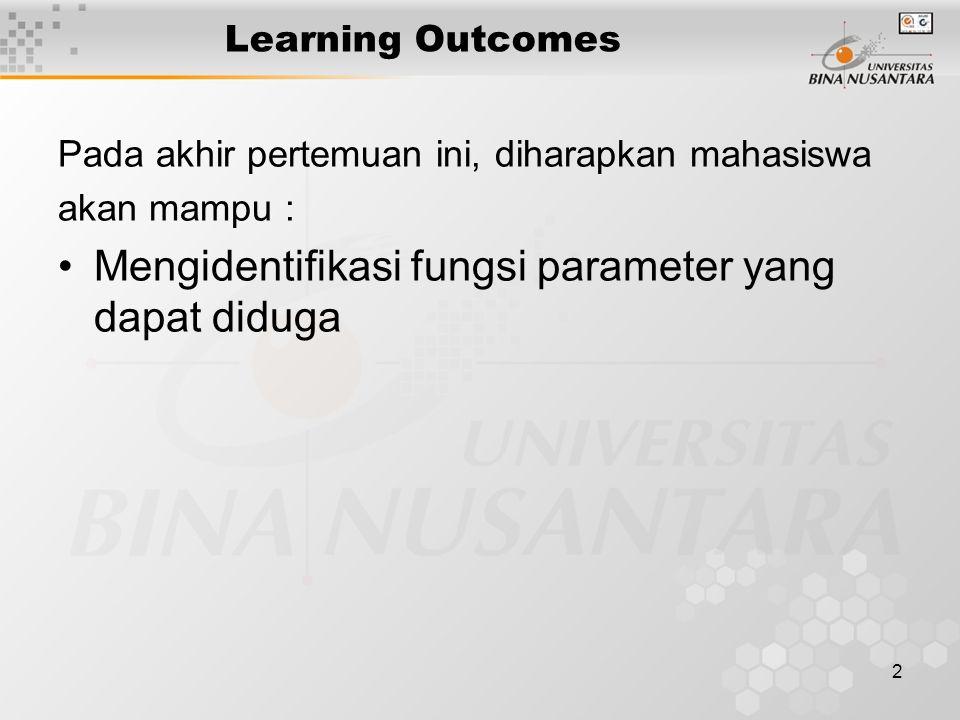2 Learning Outcomes Pada akhir pertemuan ini, diharapkan mahasiswa akan mampu : Mengidentifikasi fungsi parameter yang dapat diduga