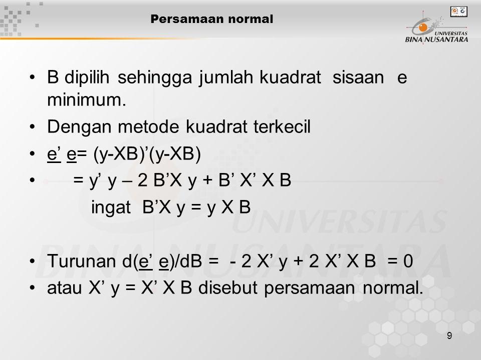 10 Solusi B Persamaan normal bersifat konsisten jika rank (X'X|X'y) = rank (X' X) Solusi persamaan normal X' y = X' X B Jika S = X' X maka B = S - X' y S - = matrik invers (umum) X'X
