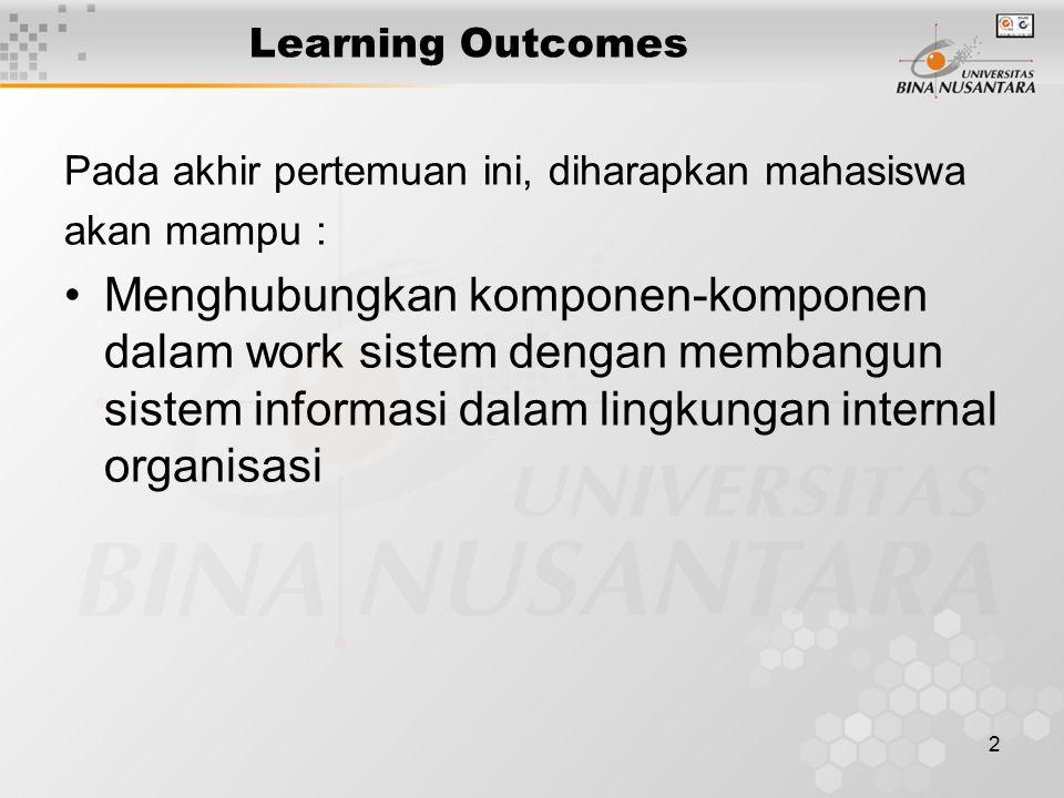 2 Learning Outcomes Pada akhir pertemuan ini, diharapkan mahasiswa akan mampu : Menghubungkan komponen-komponen dalam work sistem dengan membangun sistem informasi dalam lingkungan internal organisasi