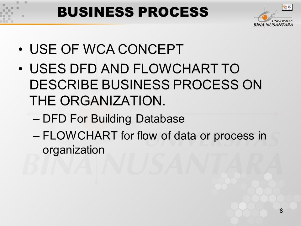 8 BUSINESS PROCESS USE OF WCA CONCEPT USES DFD AND FLOWCHART TO DESCRIBE BUSINESS PROCESS ON THE ORGANIZATION.