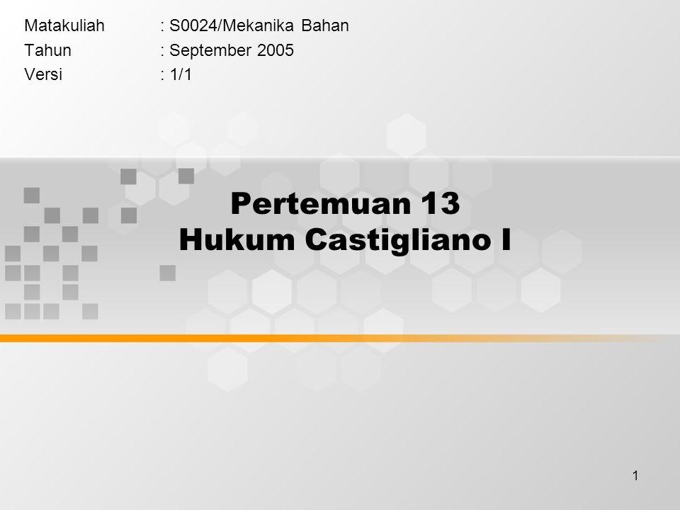 1 Pertemuan 13 Hukum Castigliano I Matakuliah: S0024/Mekanika Bahan Tahun: September 2005 Versi: 1/1