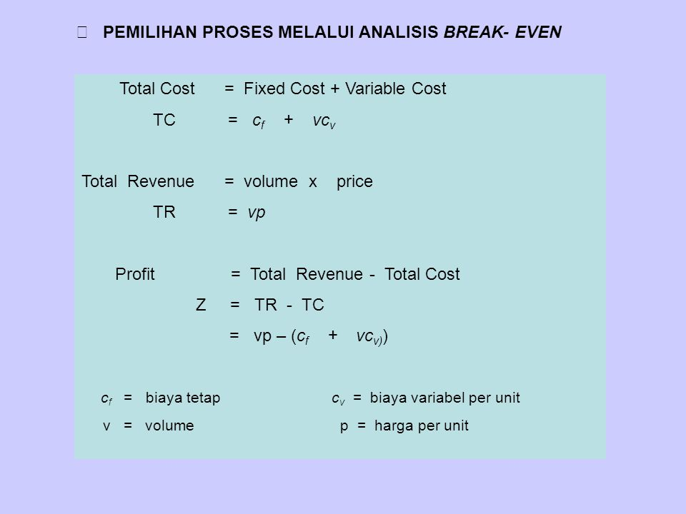 PEMILIHAN PROSES MELALUI ANALISIS BREAK- EVEN Total Cost = Fixed Cost + Variable Cost TC = c f + vc v Total Revenue = volume x price TR = vp Profit =