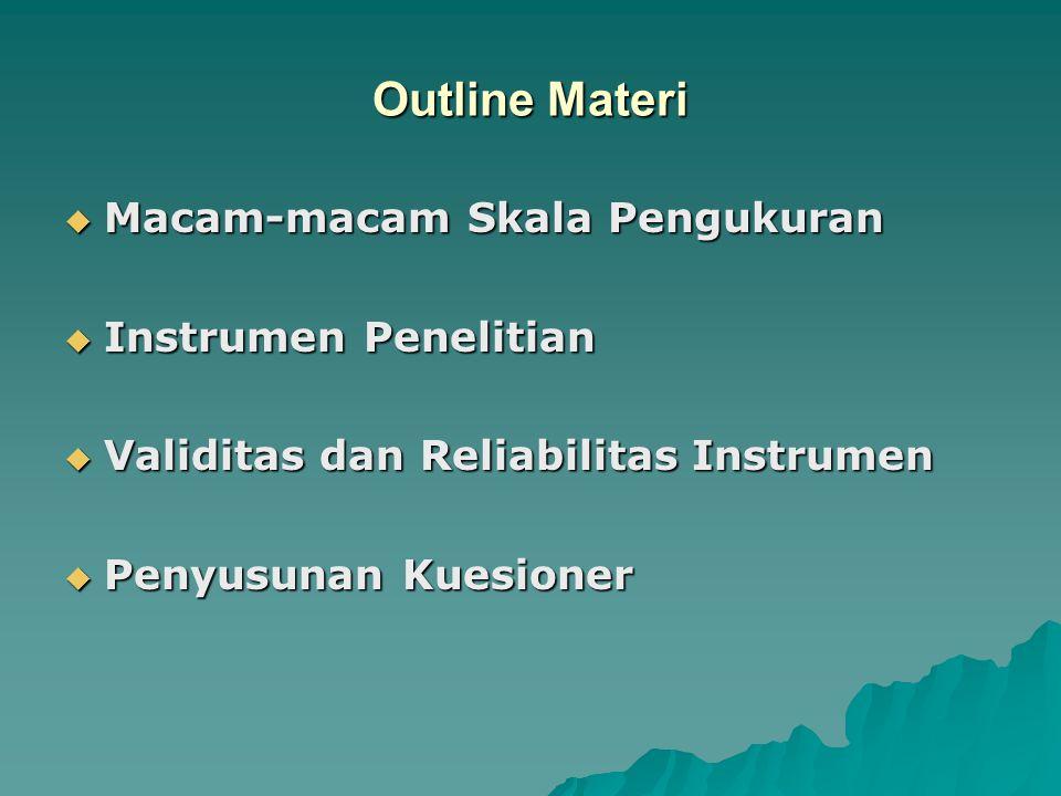 Outline Materi  Macam-macam Skala Pengukuran  Instrumen Penelitian  Validitas dan Reliabilitas Instrumen  Penyusunan Kuesioner