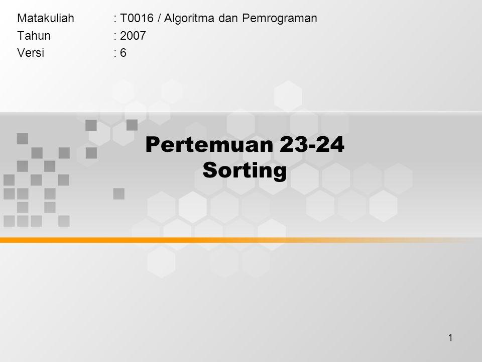 1 Pertemuan 23-24 Sorting Matakuliah: T0016 / Algoritma dan Pemrograman Tahun: 2007 Versi: 6